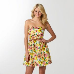 Ruby Rox Colorful Yellow Floral Mini Dress | XS